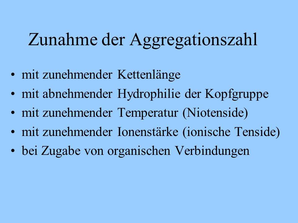 Zunahme der Aggregationszahl