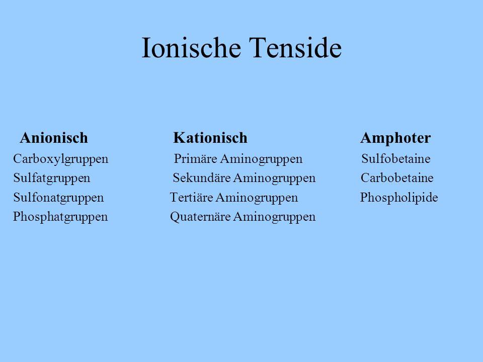 Ionische Tenside Anionisch Kationisch Amphoter