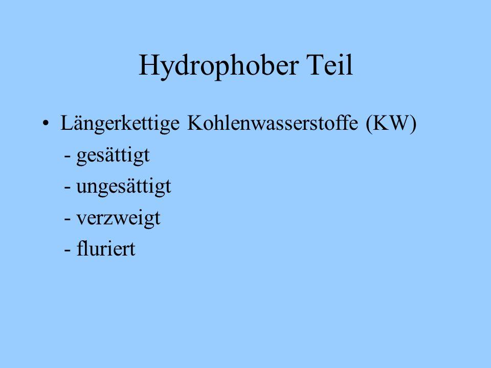 Hydrophober Teil Längerkettige Kohlenwasserstoffe (KW) - gesättigt