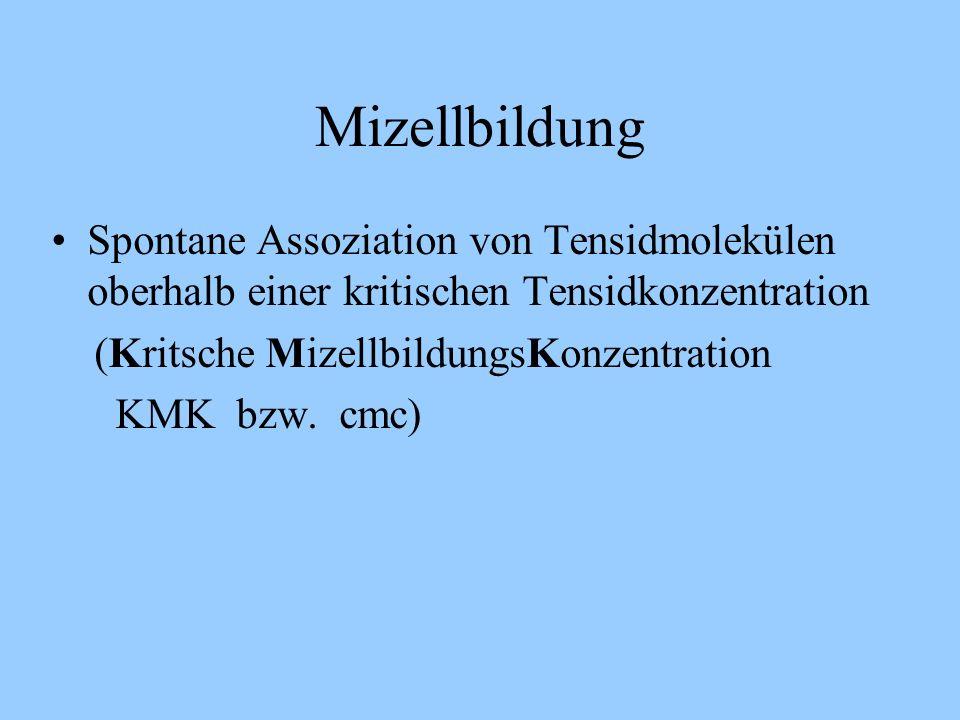 Mizellbildung Spontane Assoziation von Tensidmolekülen oberhalb einer kritischen Tensidkonzentration.