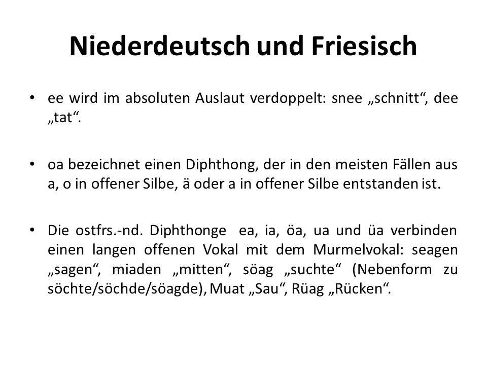 Niederdeutsch und Friesisch