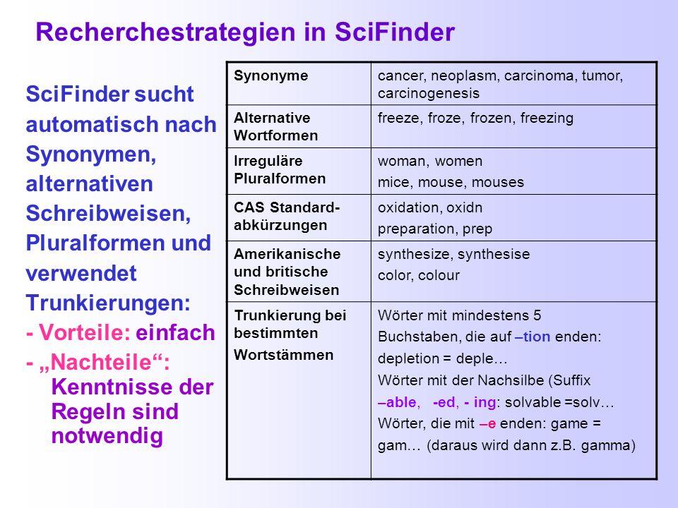 Recherchestrategien in SciFinder