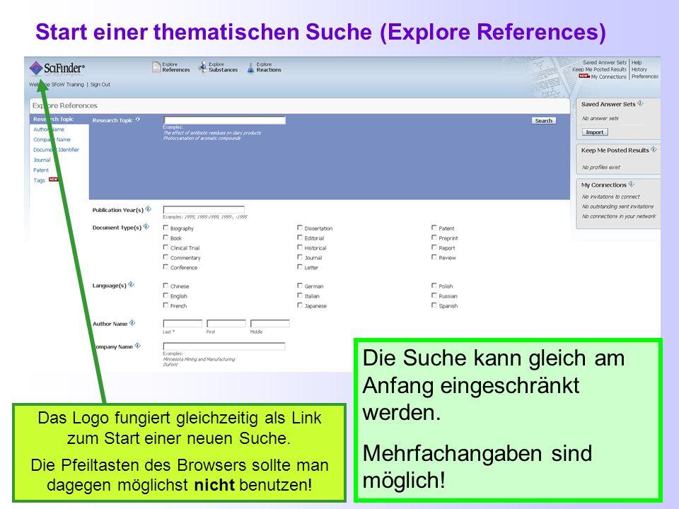 Start einer thematischen Suche (Explore References)