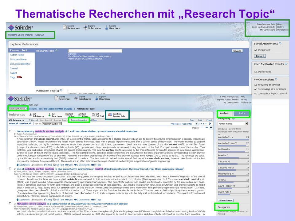 """Thematische Recherchen mit """"Research Topic"""