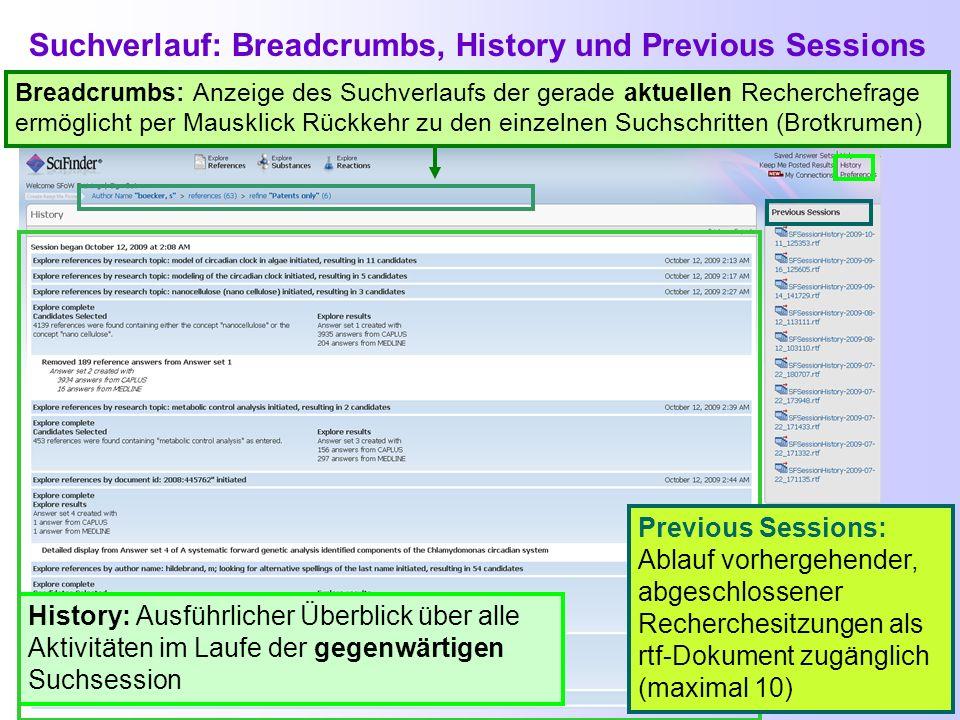 Suchverlauf: Breadcrumbs, History und Previous Sessions