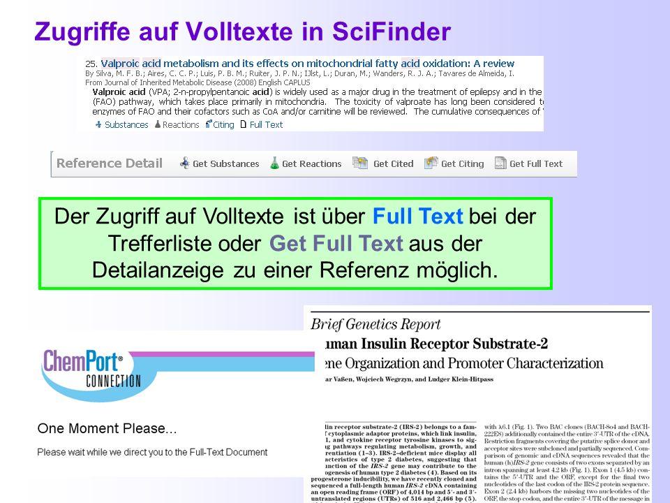 Zugriffe auf Volltexte in SciFinder