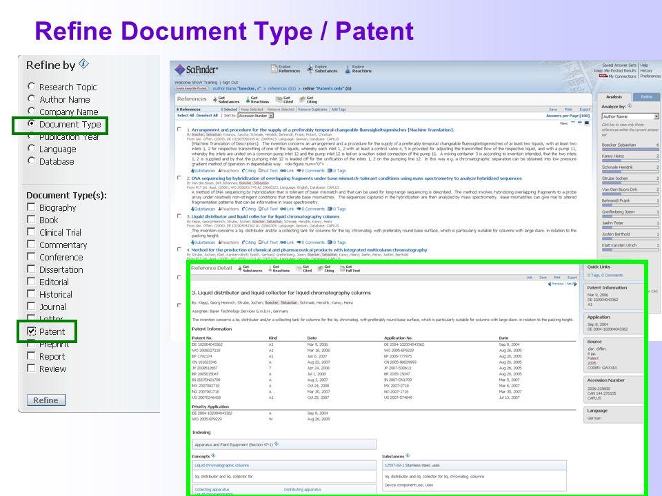 Refine Document Type / Patent