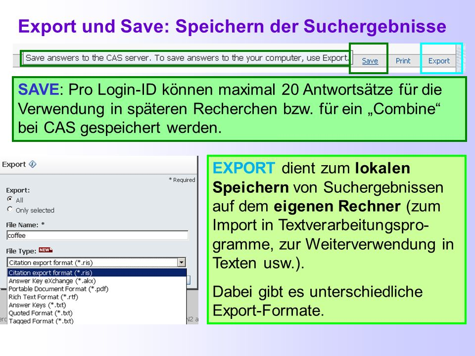 Export und Save: Speichern der Suchergebnisse