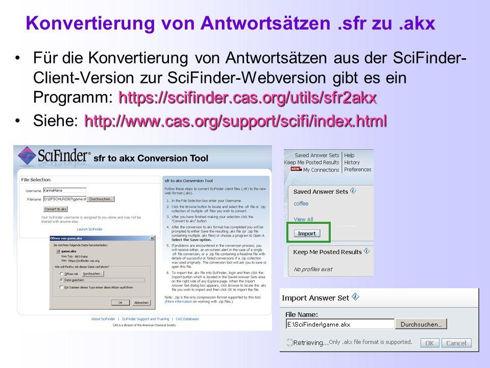 Konvertierung von Antwortsätzen .sfr zu .akx