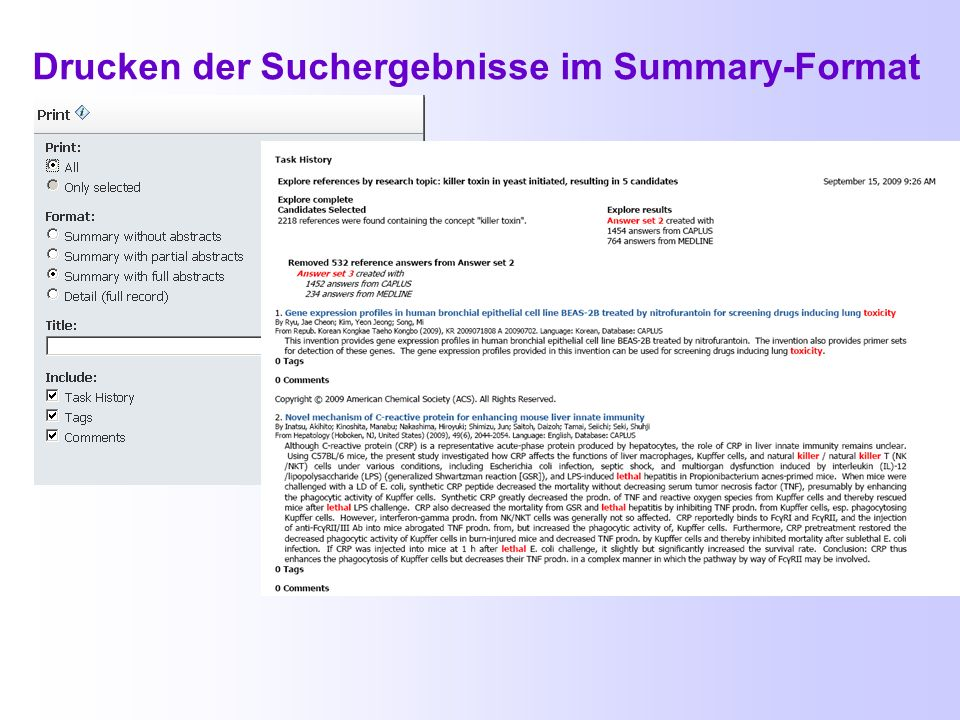 Drucken der Suchergebnisse im Summary-Format