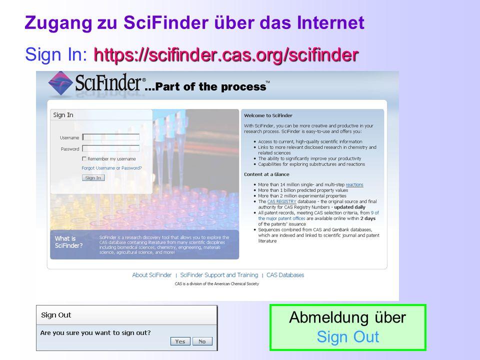 Zugang zu SciFinder über das Internet