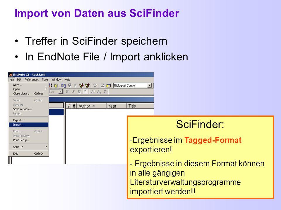 Import von Daten aus SciFinder
