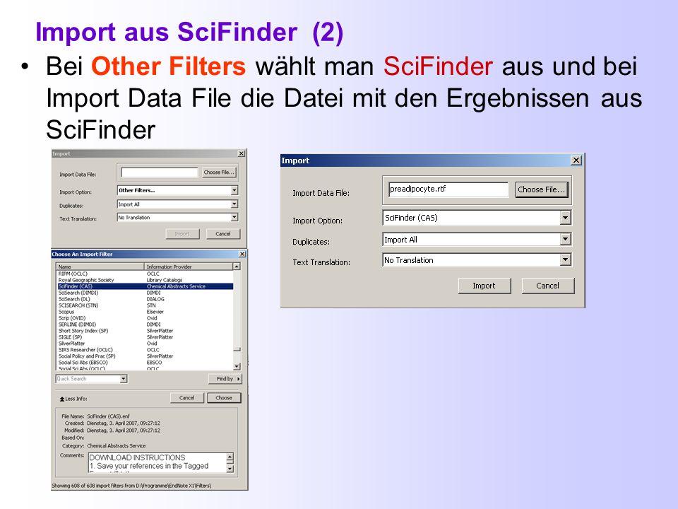 Import aus SciFinder (2)