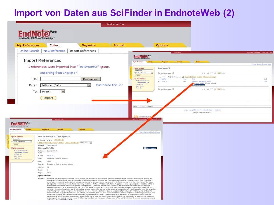 Import von Daten aus SciFinder in EndnoteWeb (2)