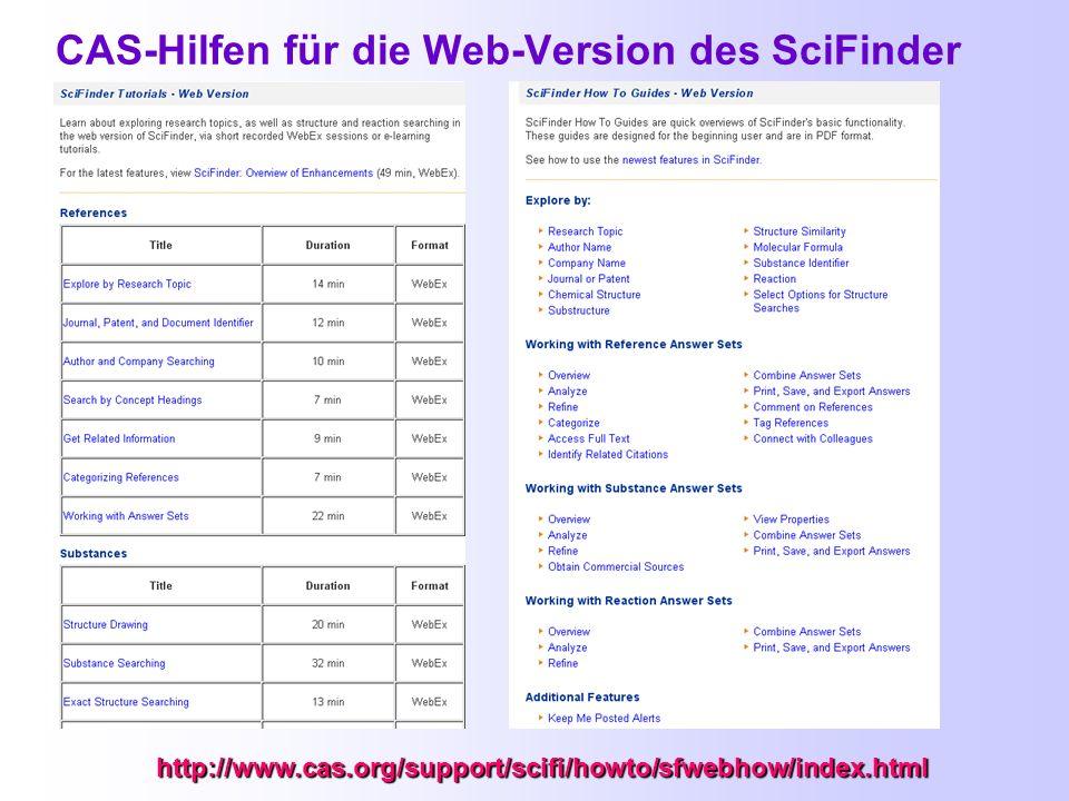 CAS-Hilfen für die Web-Version des SciFinder
