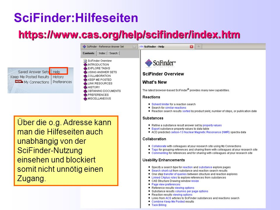 SciFinder:Hilfeseiten