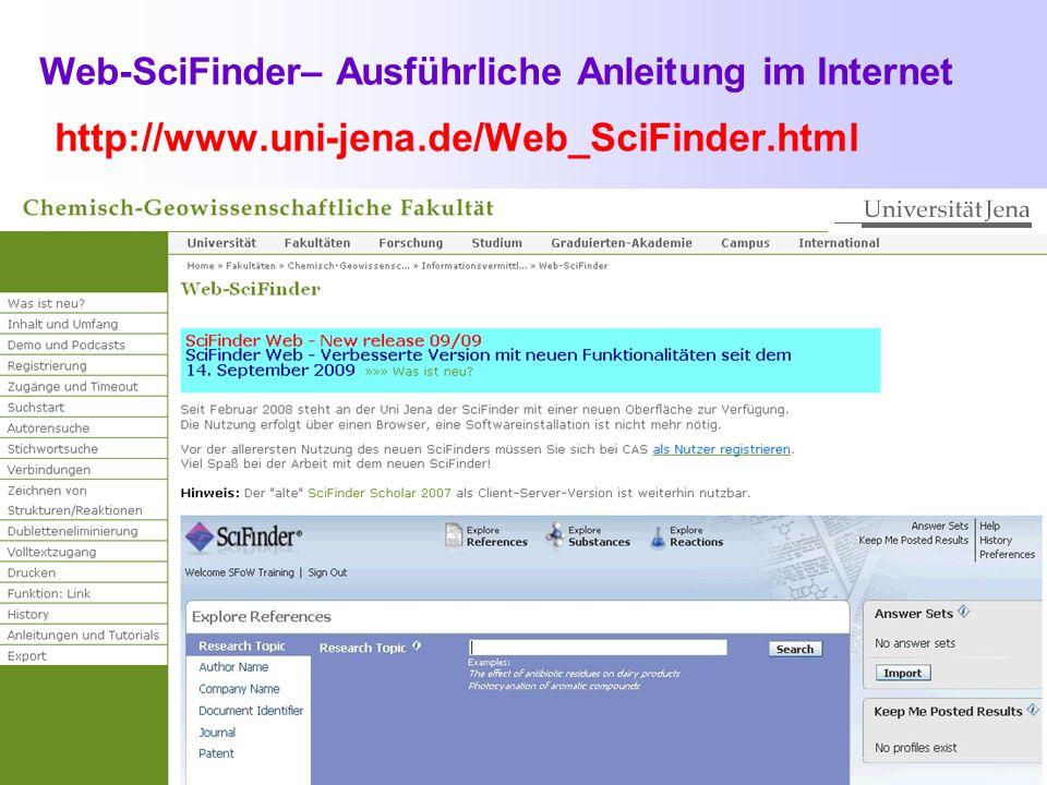 Web-SciFinder– Ausführliche Anleitung im Internet