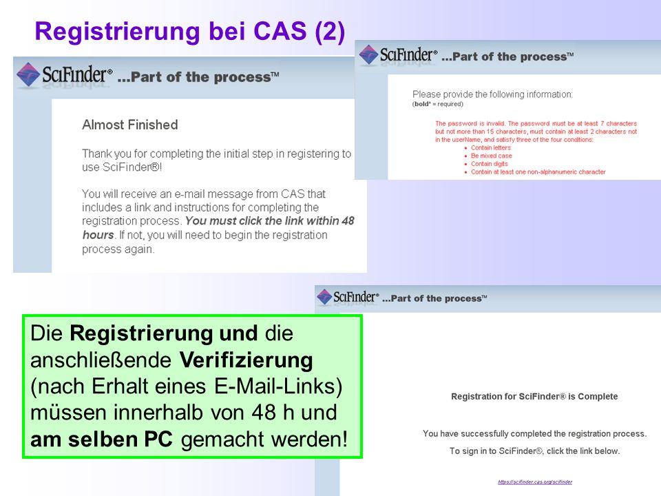 Registrierung bei CAS (2)