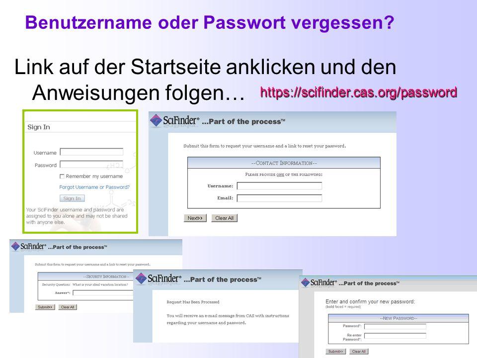 Benutzername oder Passwort vergessen