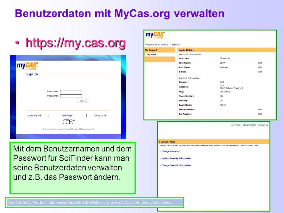 Benutzerdaten mit MyCas.org verwalten