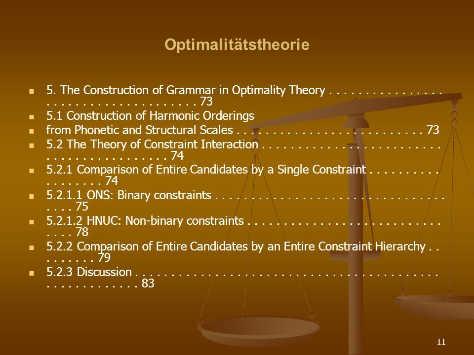 Optimalitätstheorie 5. The Construction of Grammar in Optimality Theory . . . . . . . . . . . . . . . . . . . . . . . . . . . . . . . . . . . . . 73.