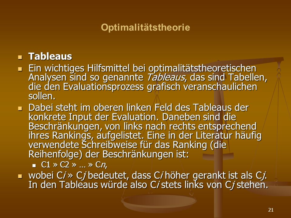 Optimalitätstheorie Tableaus