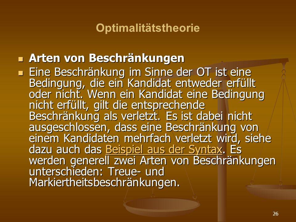 OptimalitätstheorieArten von Beschränkungen.