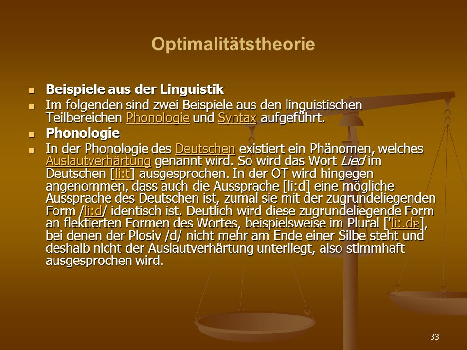 Optimalitätstheorie Beispiele aus der Linguistik