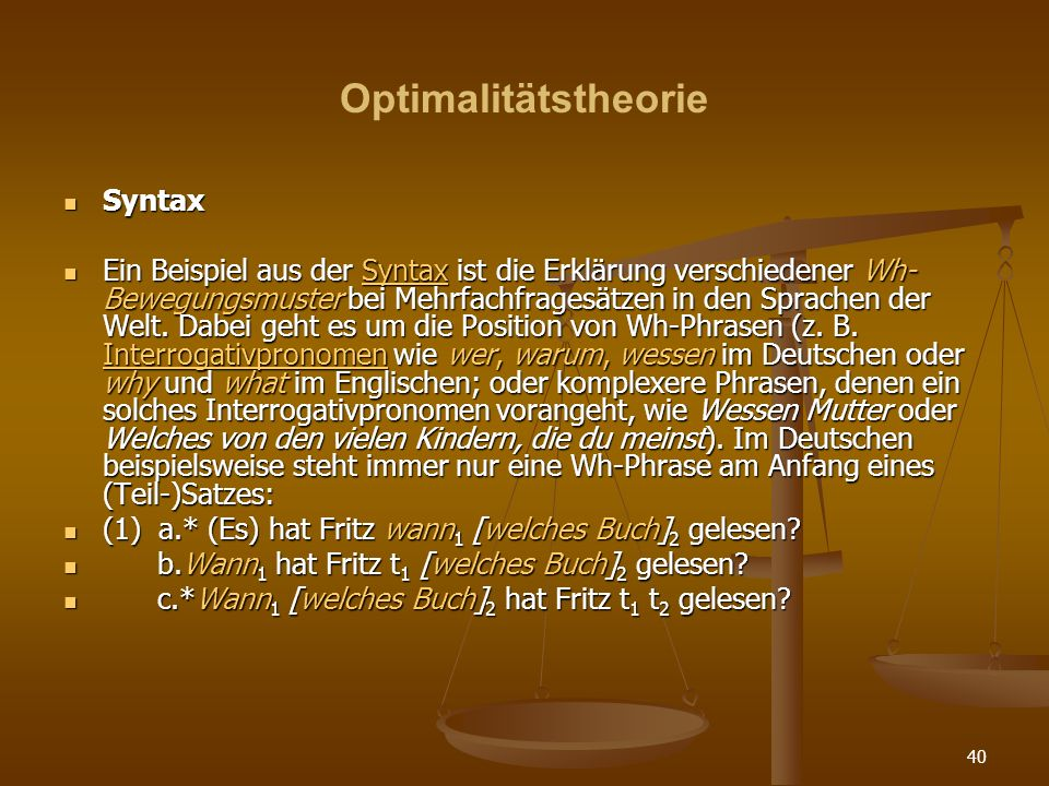 Optimalitätstheorie Syntax