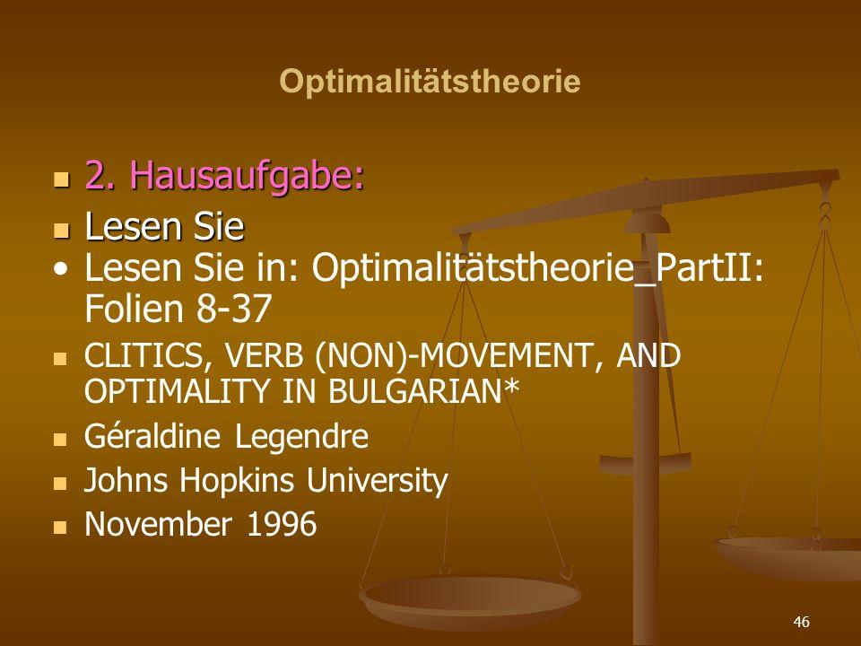Lesen Sie in: Optimalitätstheorie_PartII: Folien 8-37