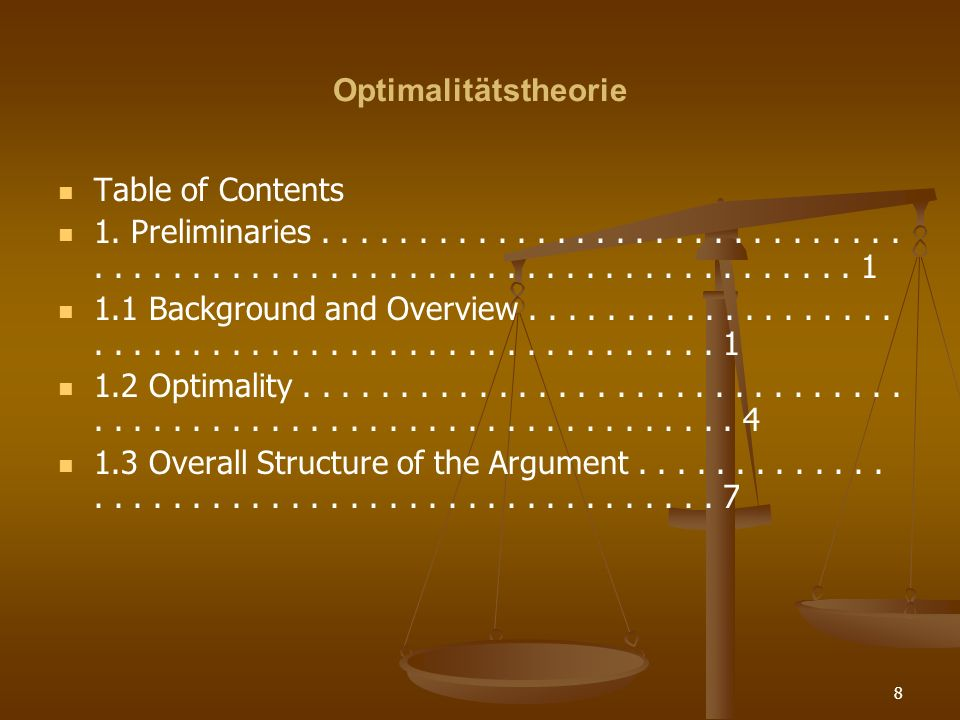Optimalitätstheorie Table of Contents.