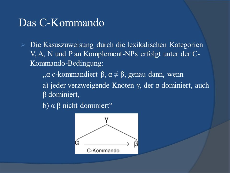 Das C-KommandoDie Kasuszuweisung durch die lexikalischen Kategorien V, A, N und P an Komplement-NPs erfolgt unter der C-Kommando-Bedingung: