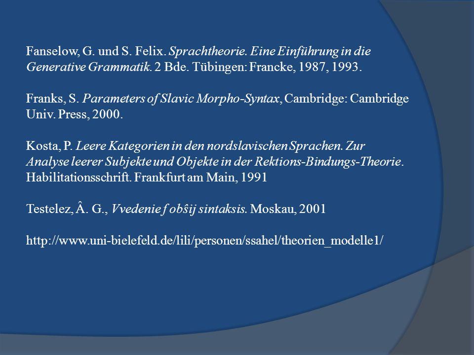Fanselow, G. und S. Felix. Sprachtheorie