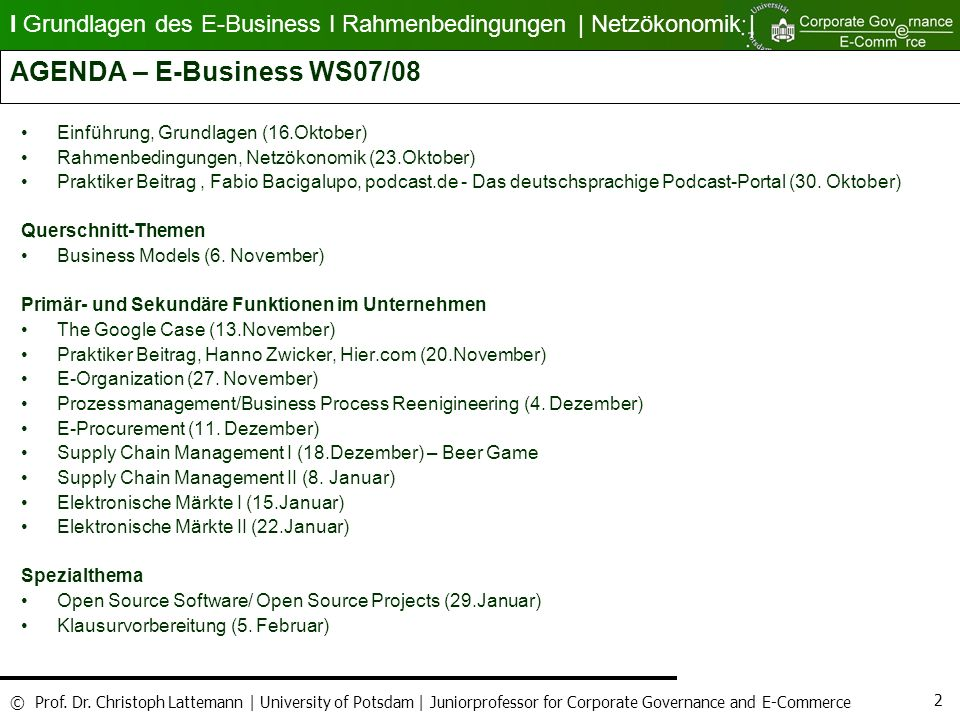 AGENDA – E-Business WS07/08