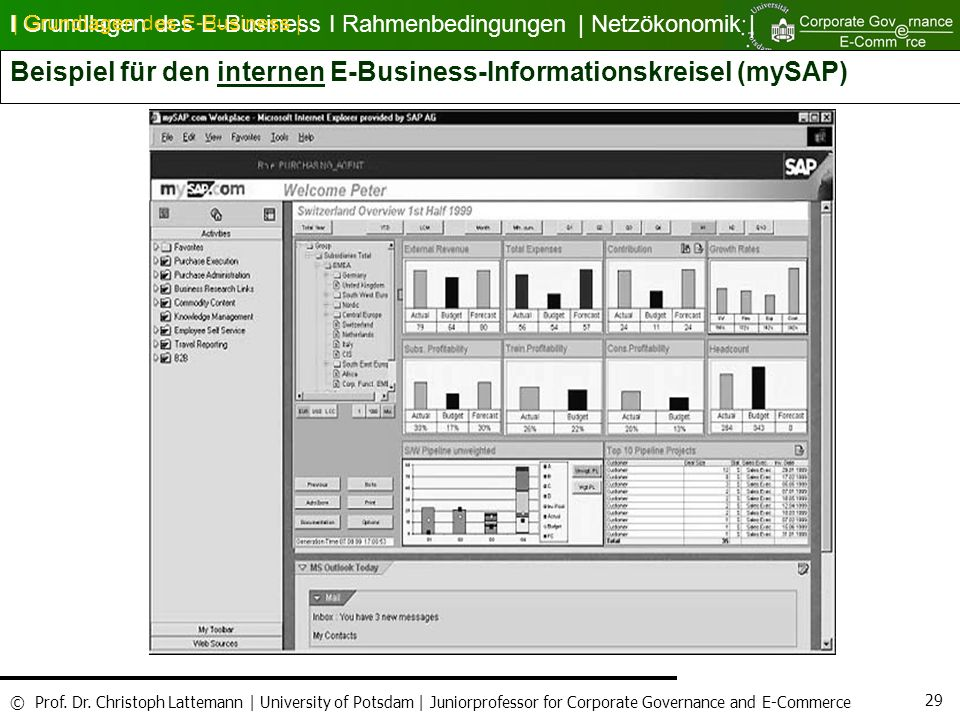 Beispiel für den internen E-Business-Informationskreisel (mySAP)