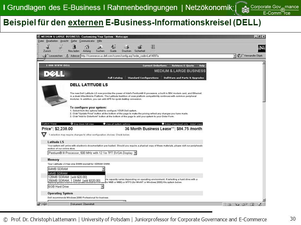 Beispiel für den externen E-Business-Informationskreisel (DELL)