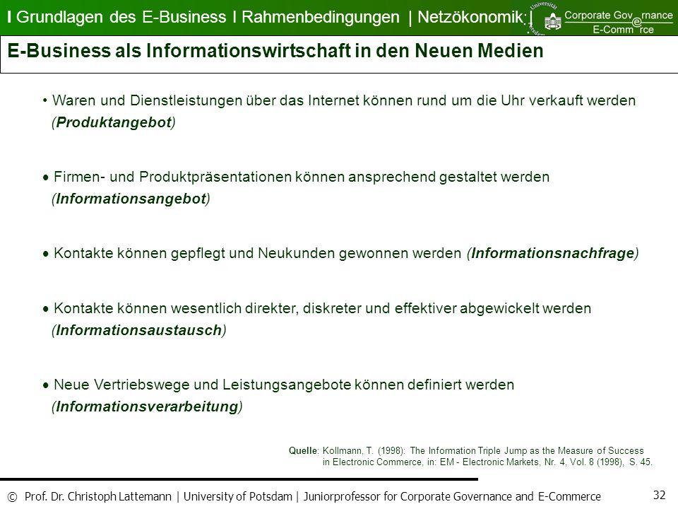 E-Business als Informationswirtschaft in den Neuen Medien