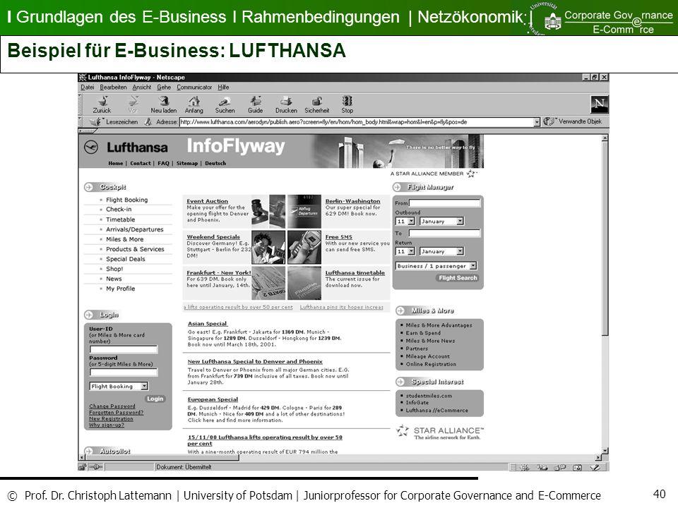 Beispiel für E-Business: LUFTHANSA