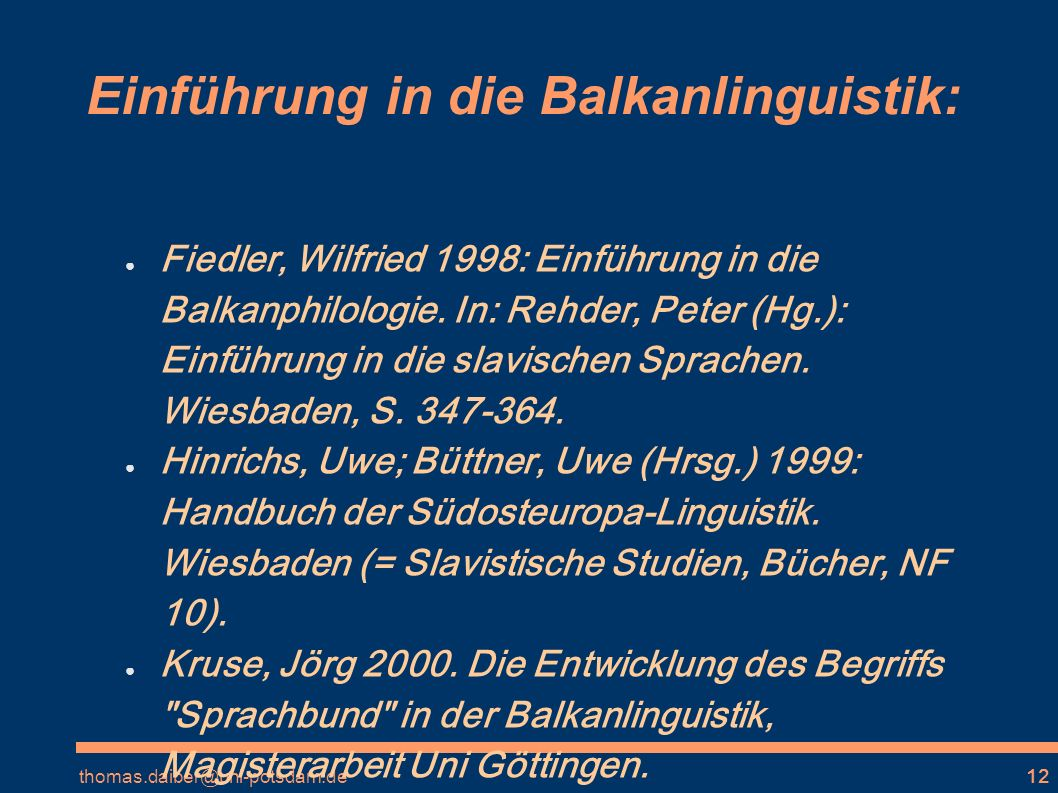 Einführung in die Balkanlinguistik: