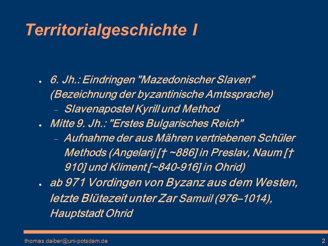 Territorialgeschichte I