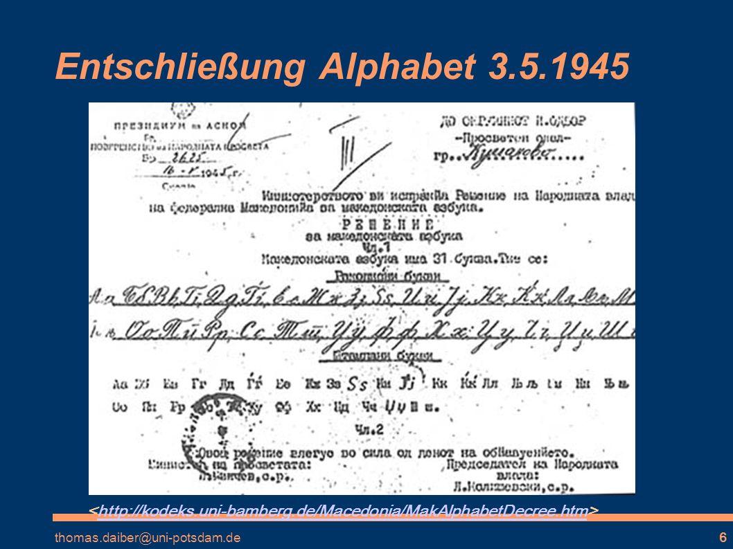Entschließung Alphabet 3.5.1945