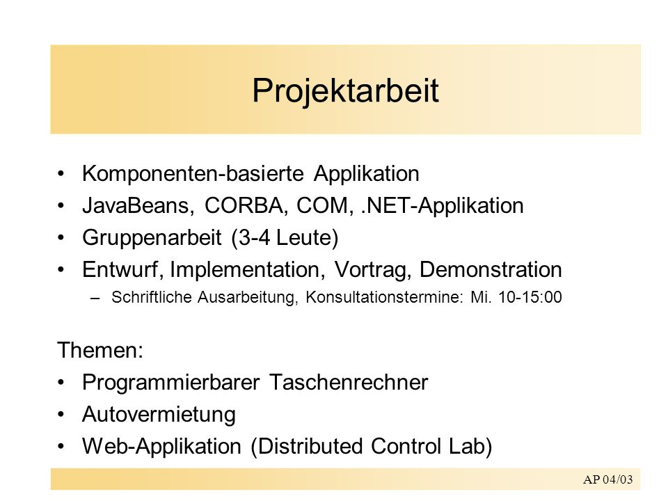 Projektarbeit Komponenten-basierte Applikation