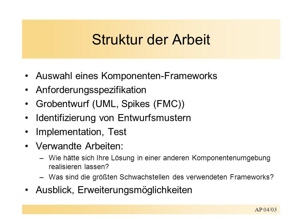 Struktur der Arbeit Auswahl eines Komponenten-Frameworks