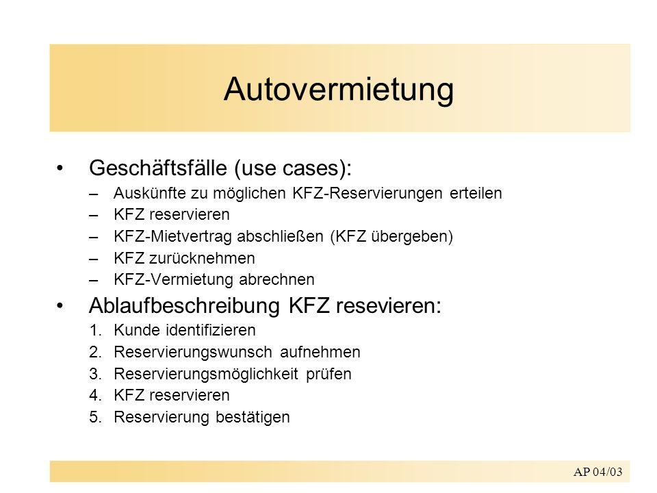 Autovermietung Geschäftsfälle (use cases):