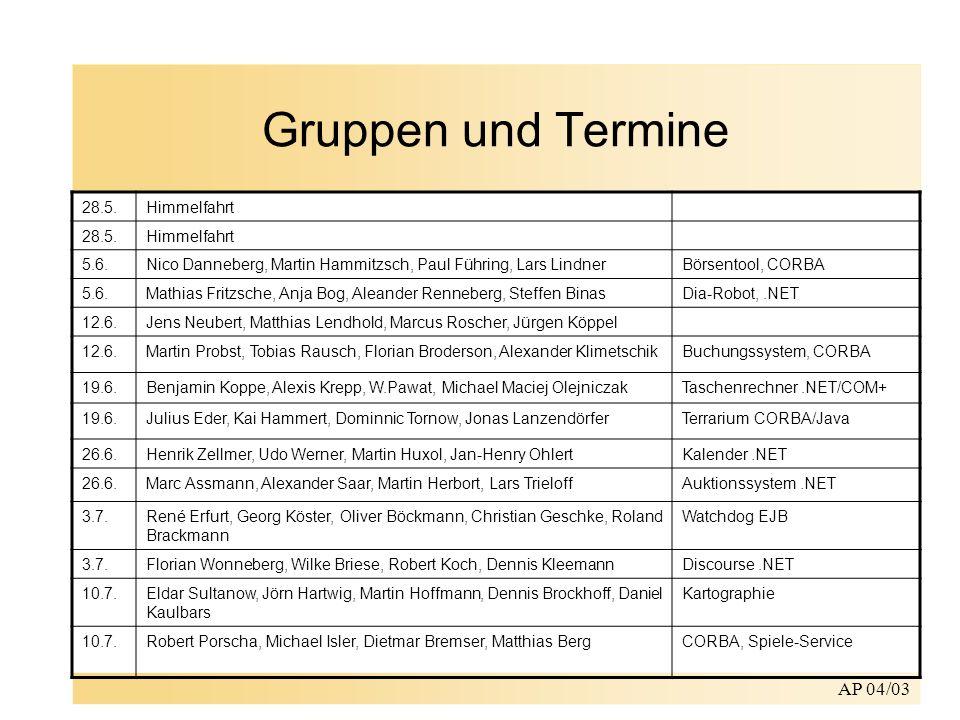 Gruppen und Termine AP 04/03 28.5. Himmelfahrt 5.6.