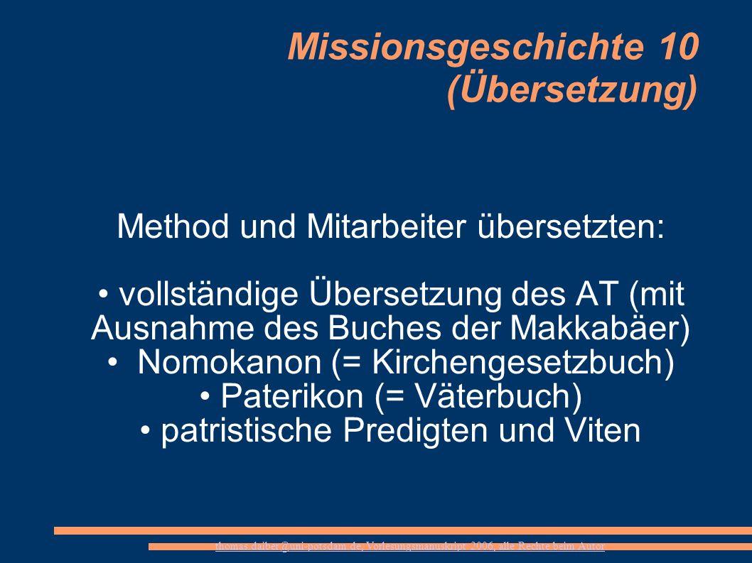 Missionsgeschichte 10 (Übersetzung)