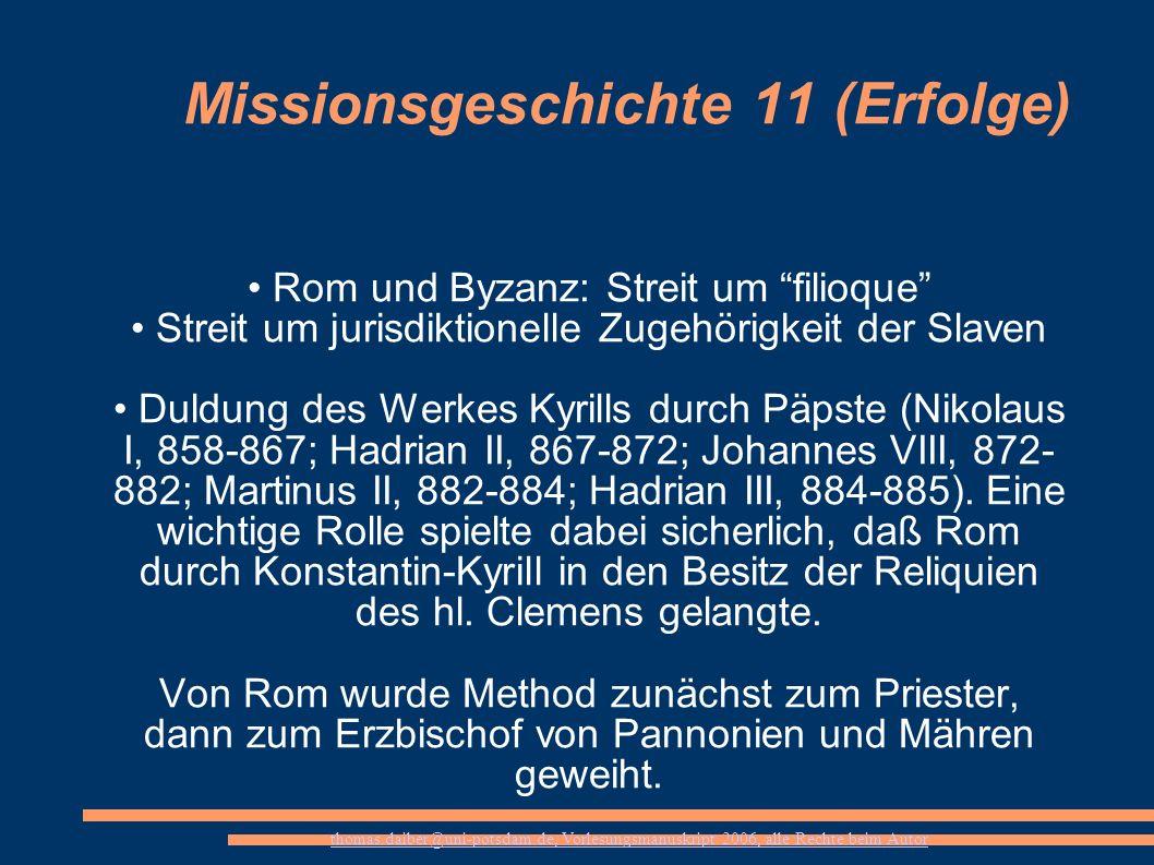Missionsgeschichte 11 (Erfolge)