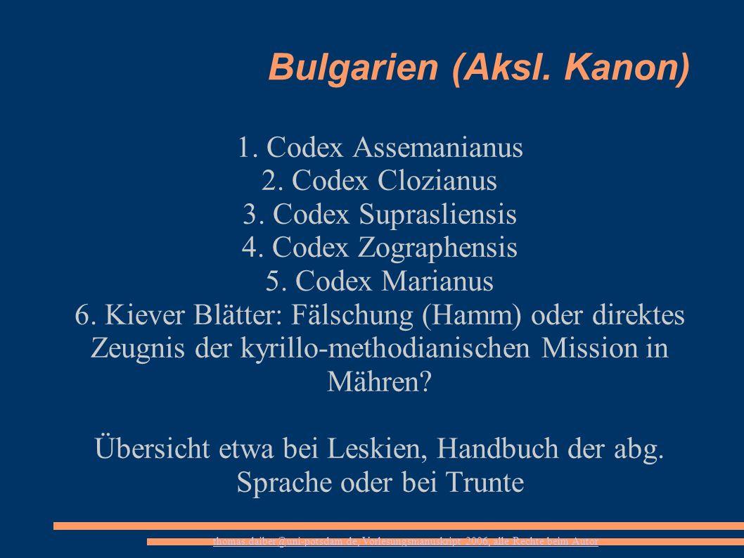Bulgarien (Aksl. Kanon)