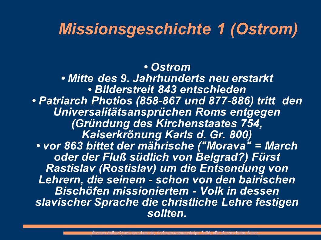 Missionsgeschichte 1 (Ostrom)