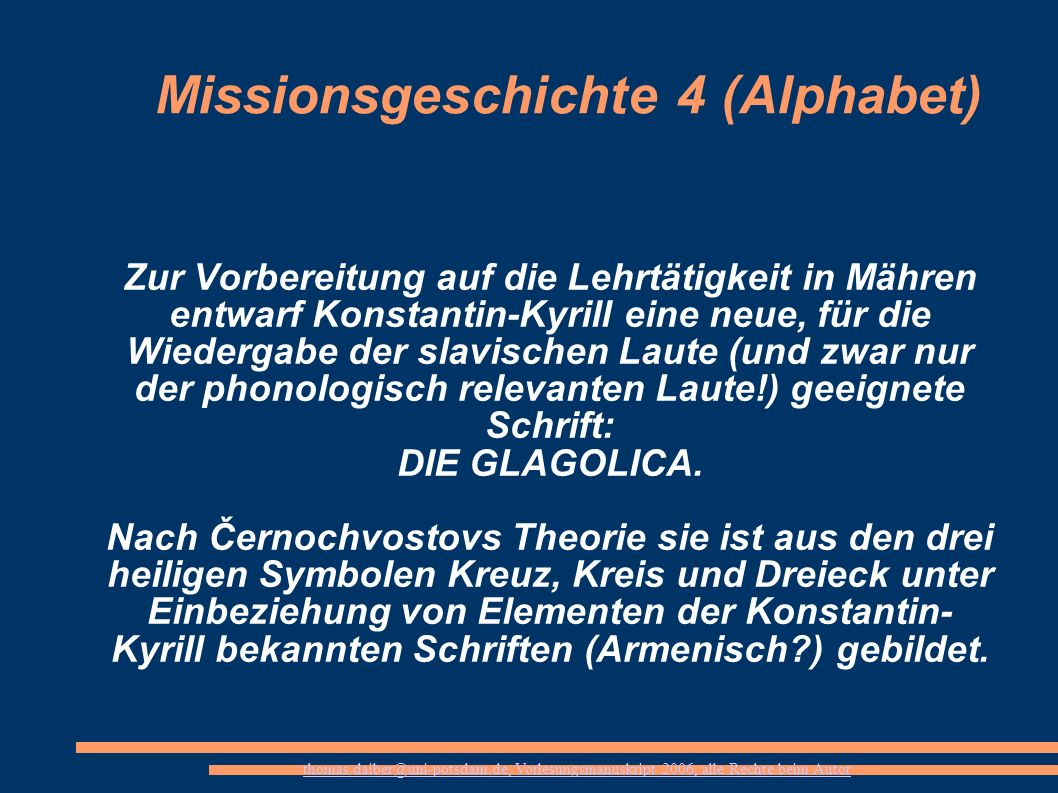 Missionsgeschichte 4 (Alphabet)